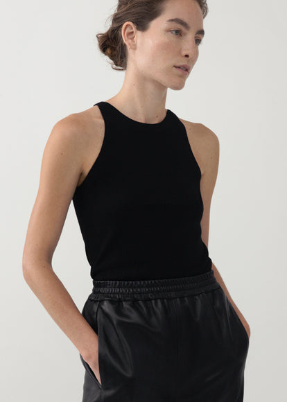 Knit Tank in Merino Wool - Black - CO