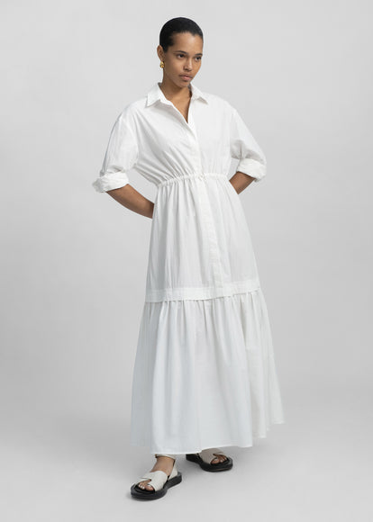 Long Sleeve Tiered Dress - White - CO