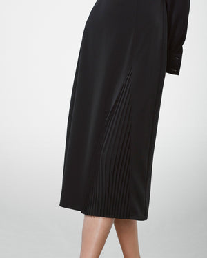 Long Sleeve Pleated Panel Dress