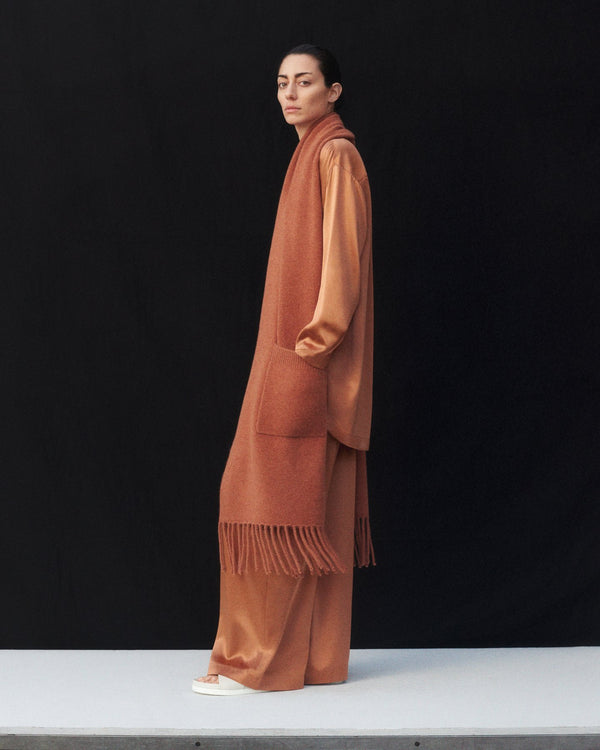 Wide Leg Pant in Silk Charmeuse - Copper - CO
