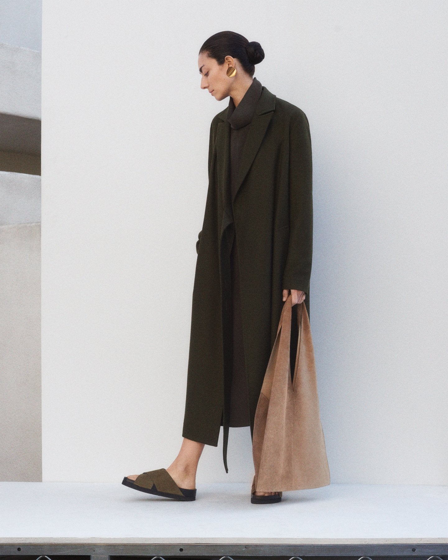 Long Coat in Twill Flannel - Forest - CO