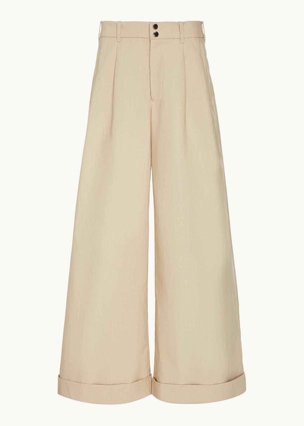 Wide Leg Trouser in Bonded Cotton Poplin - Sand - CO