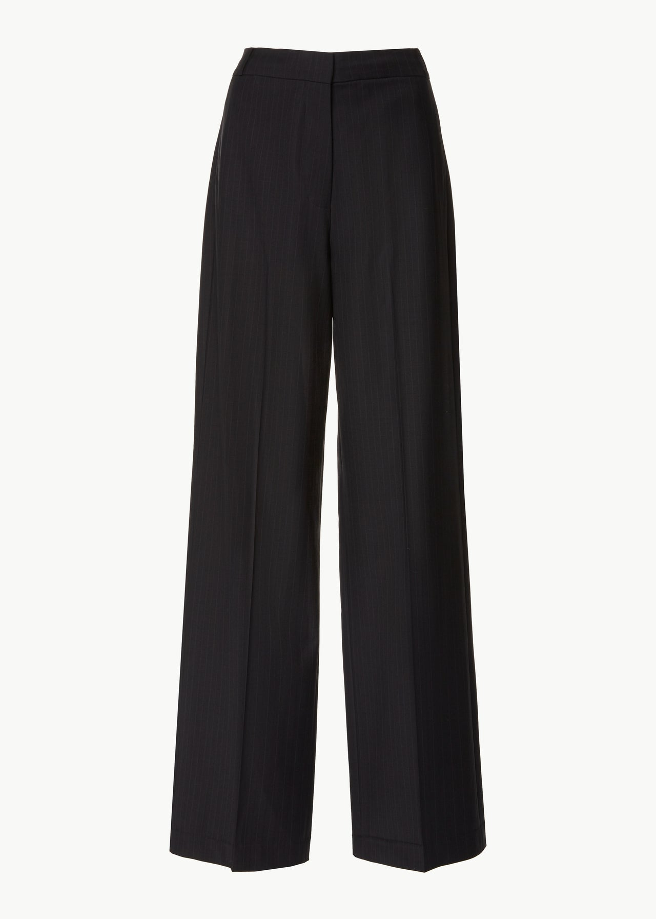 Straight Leg Trouser in Wool Pinstripe - Black