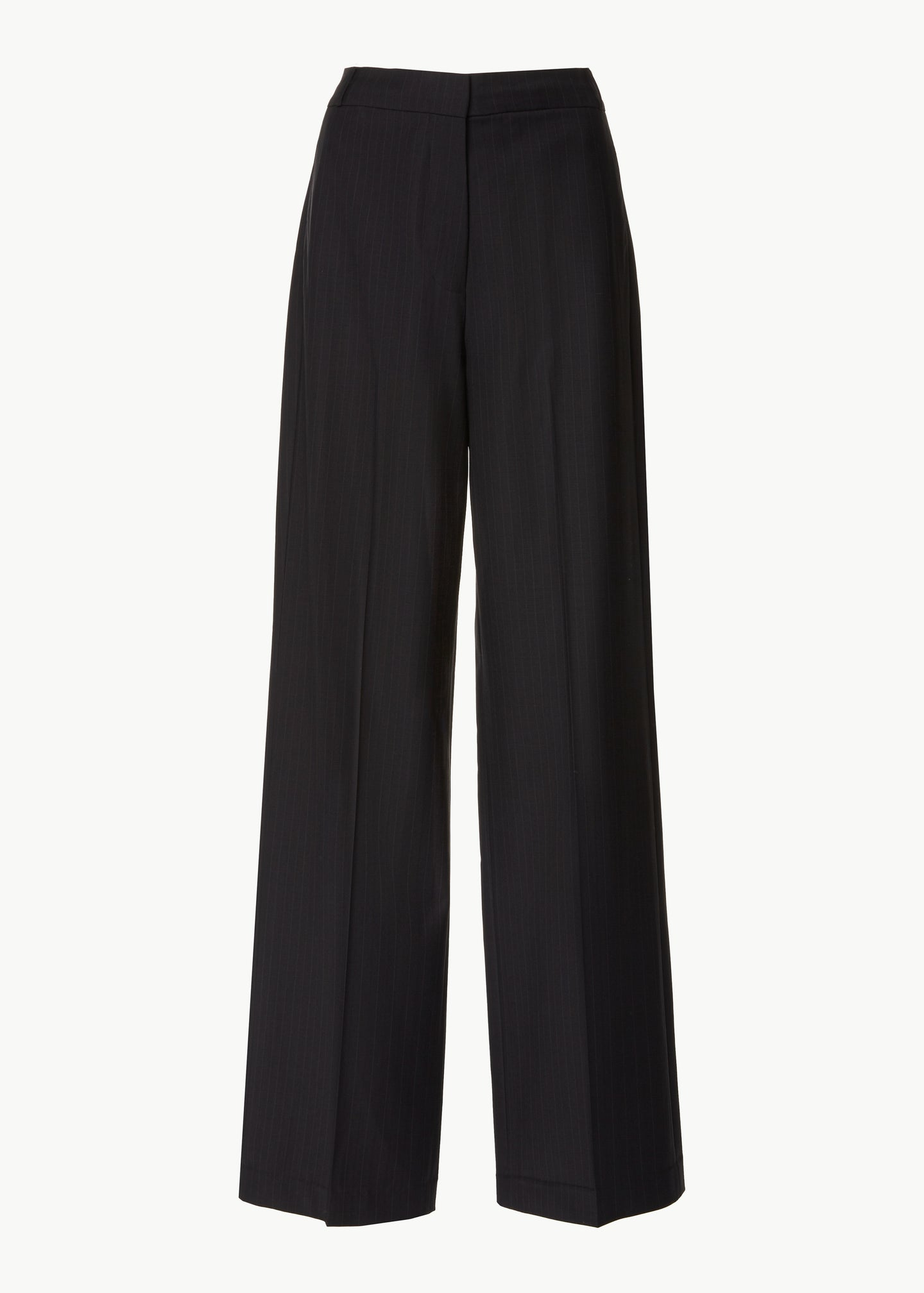 Straight Leg Trouser in Wool Pinstripe - Black - Co Collections