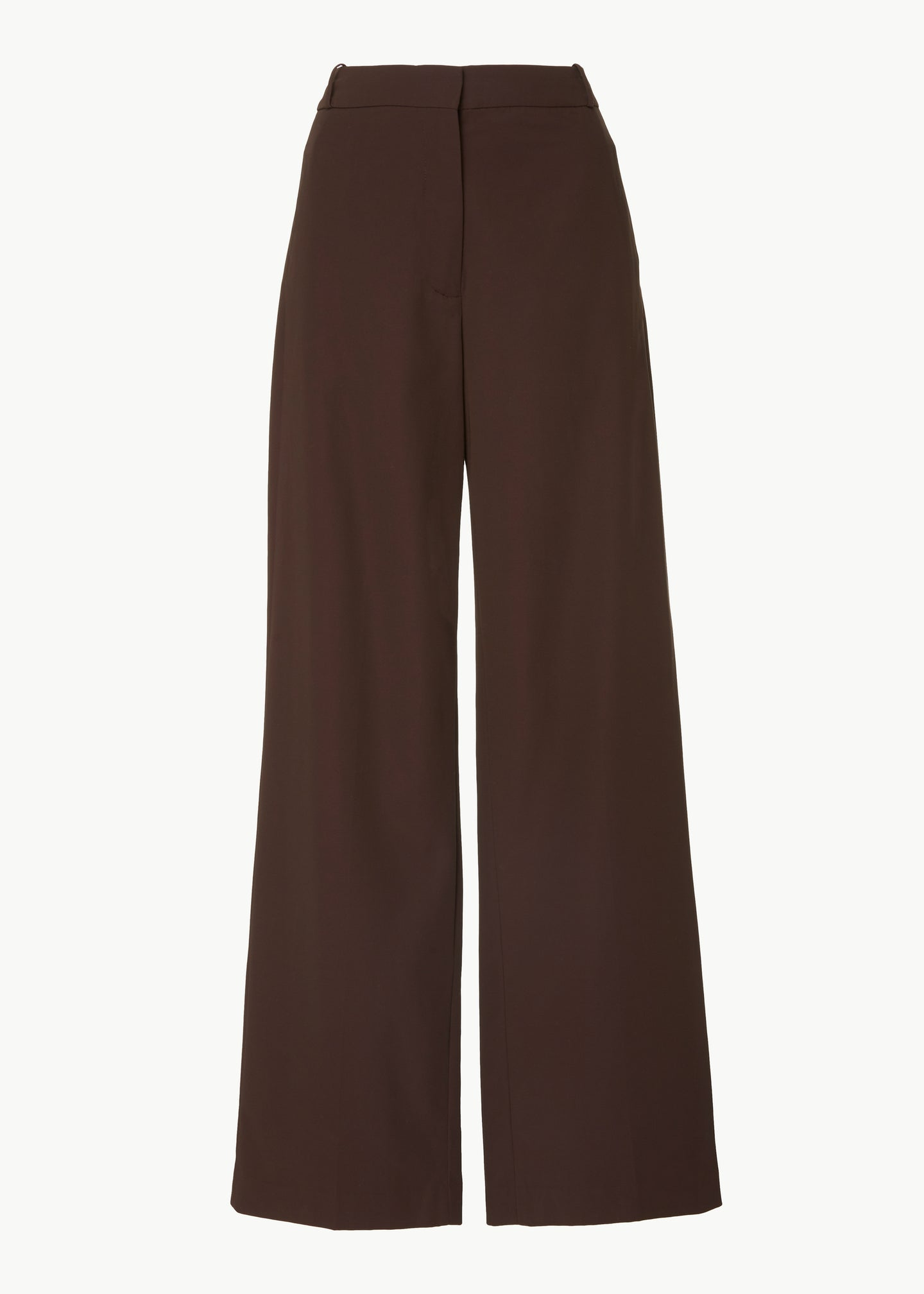 Straight Leg Trouser in Cotton Blend Twill - Espresso - Co Collections