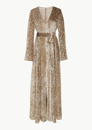 Long Sleeve V Neck Gown in Velvet - Gold - CO
