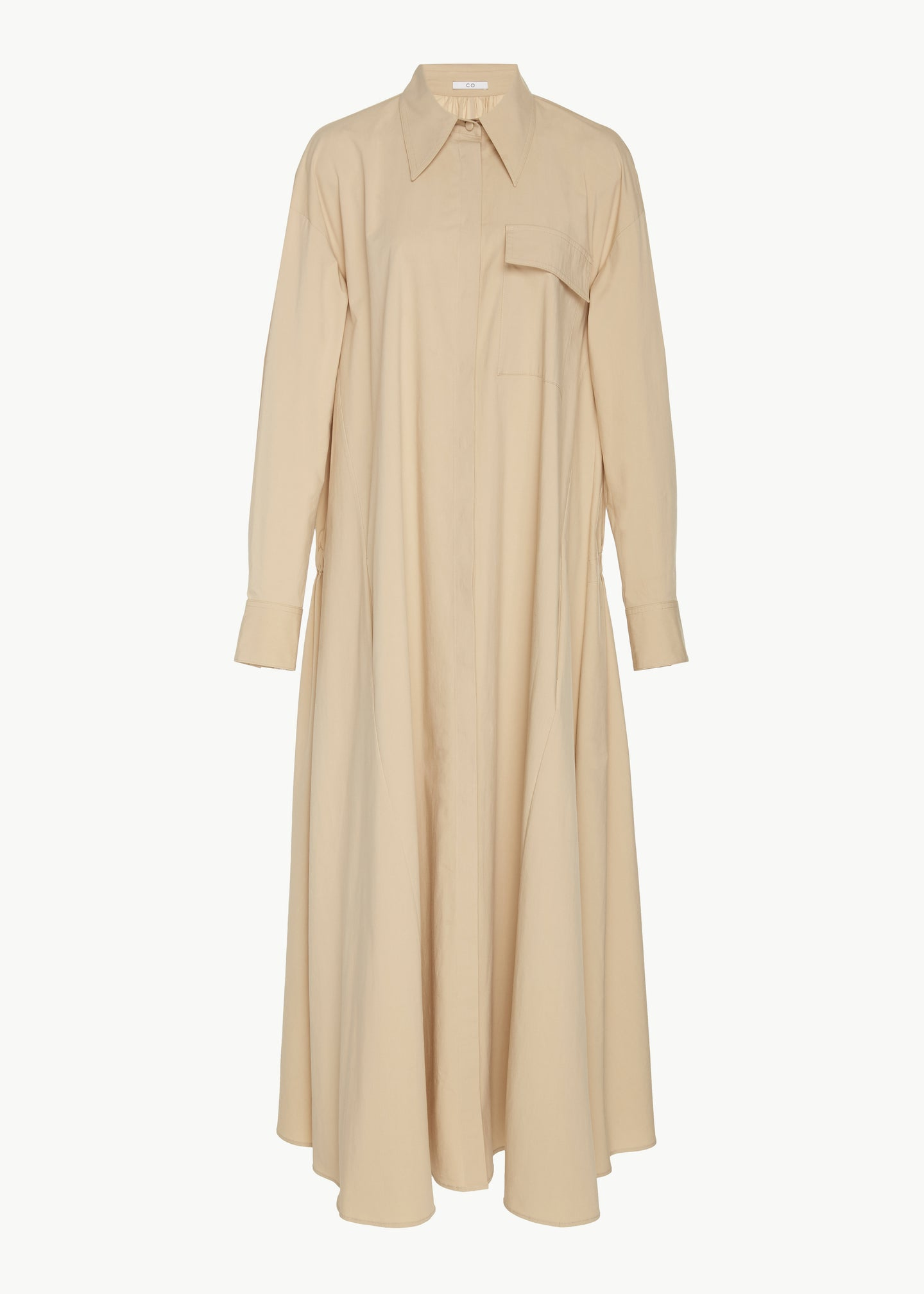 Elastic Back Shirt Dress in Winter Poplin - Sand - Co Collections