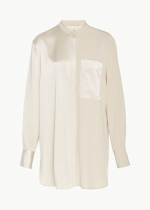 Banded Neck Shirt in Stretch Crepe - Champagne - Co Collections