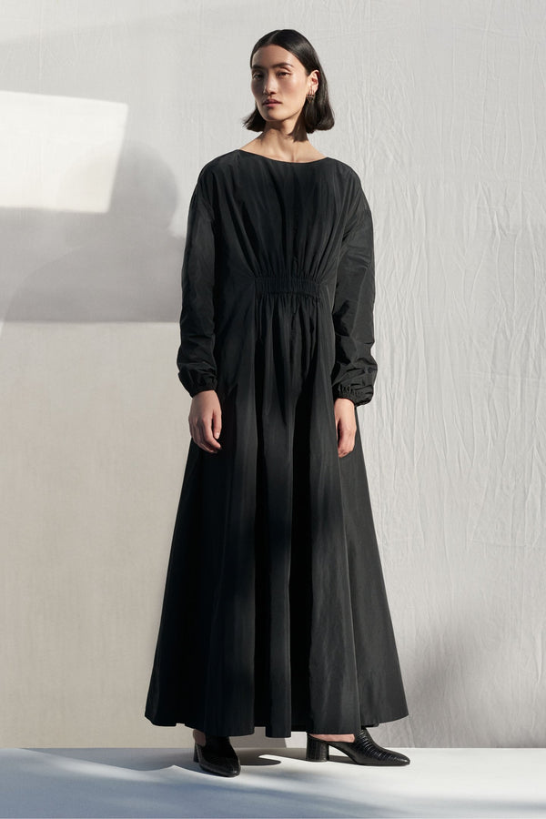 Long Sleeve Shirred Caftan in Light Faille - Black - CO