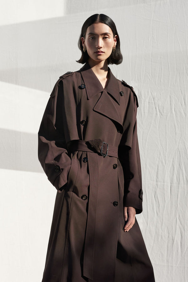 Trench Coat in Cotton Blend Twill - Espresso - CO