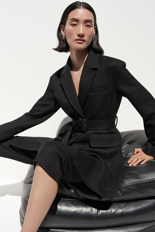 Belted Blazer in Double Faced Twill - Black - CO