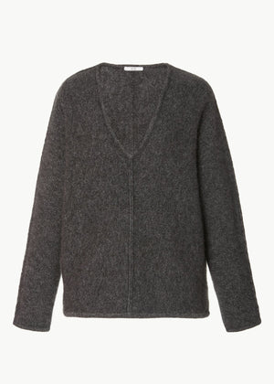 V-Neck Cashmere Sweater - Charcoal - Co Collections