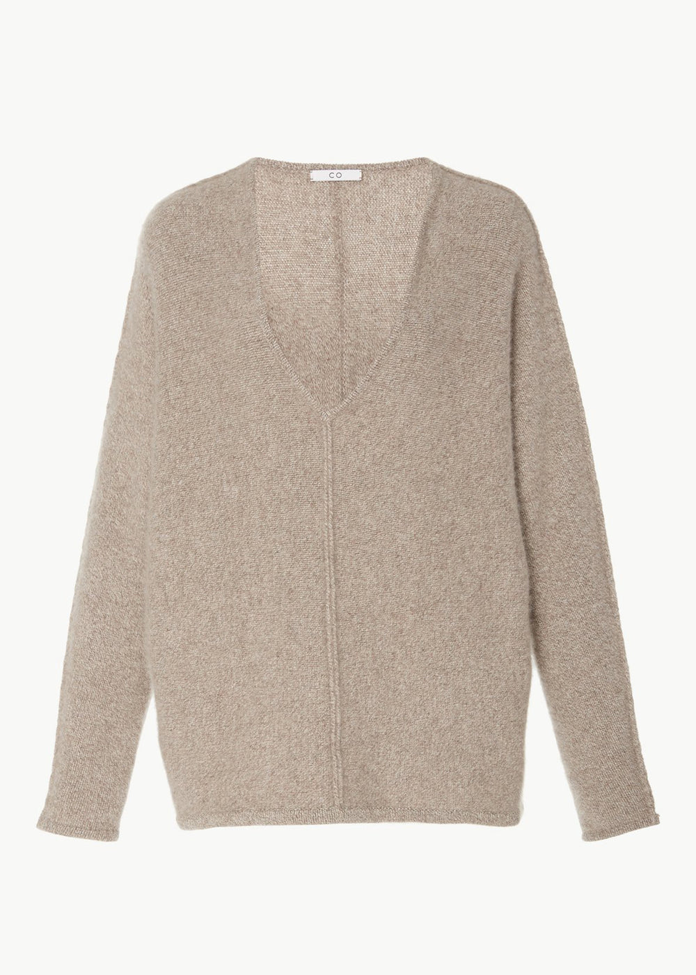 V-Neck Cashmere Sweater - Light Taupe - CO