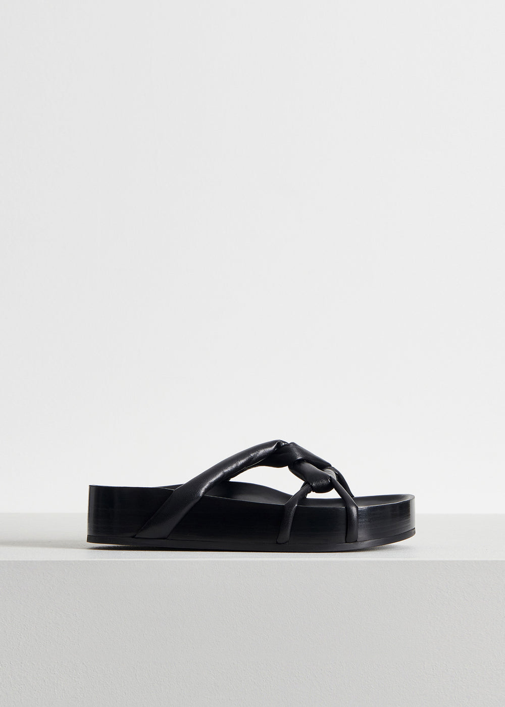 Cord Sandal in Smooth Leather - Black - CO