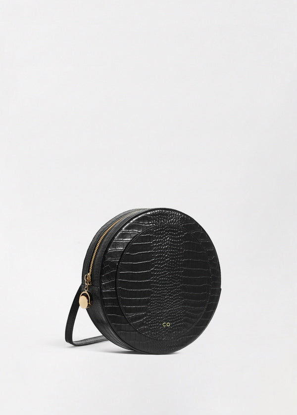 Round Crossbody in Embossed Leather - Black - CO Collections