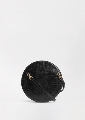 Round Crossbody in Embossed Leather - Black - CO