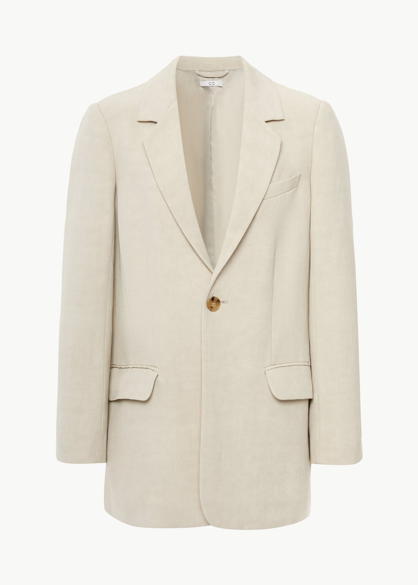 One Button Blazer in Linen - Taupe - CO