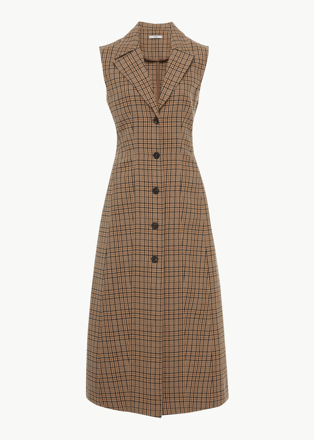 Seamed Dress in Checkered Cotton - Multi - CO