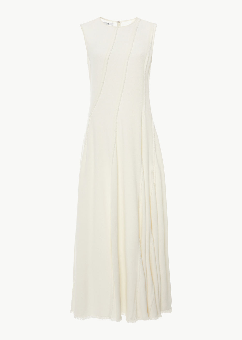 Sleeveless Fringed Dress in Pebble Crepe - Ivory - CO