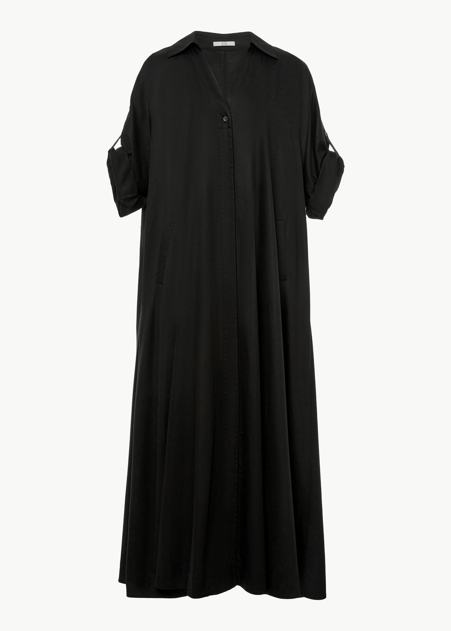 Rolled Sleeve Dress in Japanese Cotton - Black - Co Collections