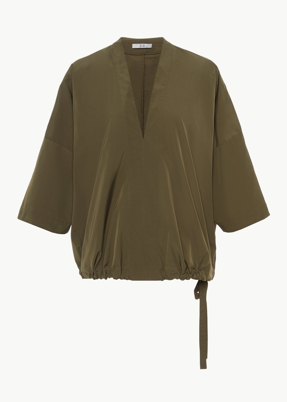 Drawstring Popover Top in Faille - Olive - CO