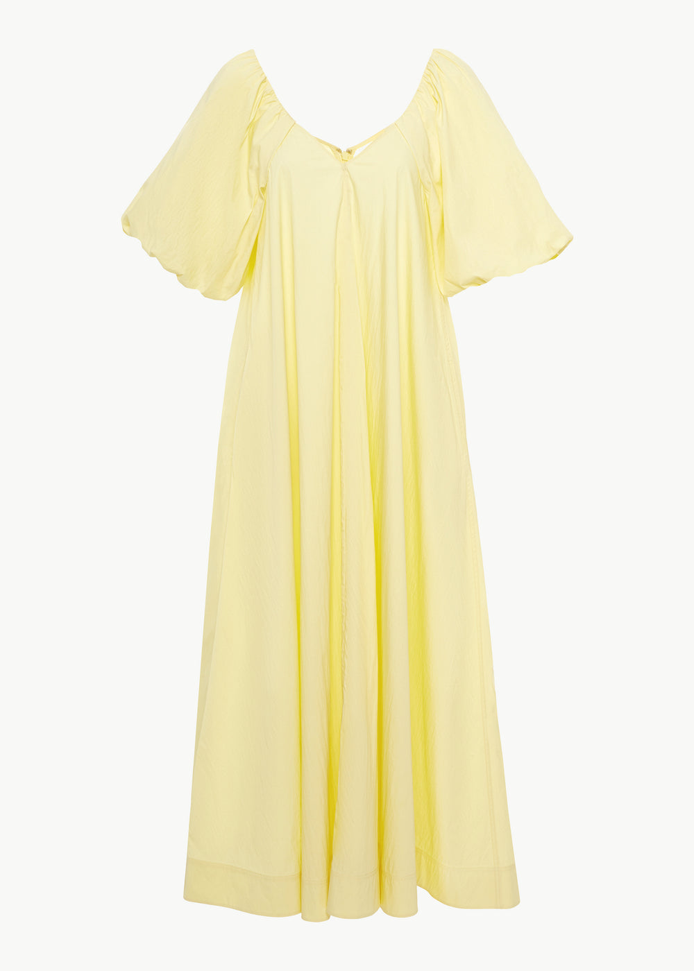 Bubble Sleeve Dress in Cotton Nylon - Yellow - CO