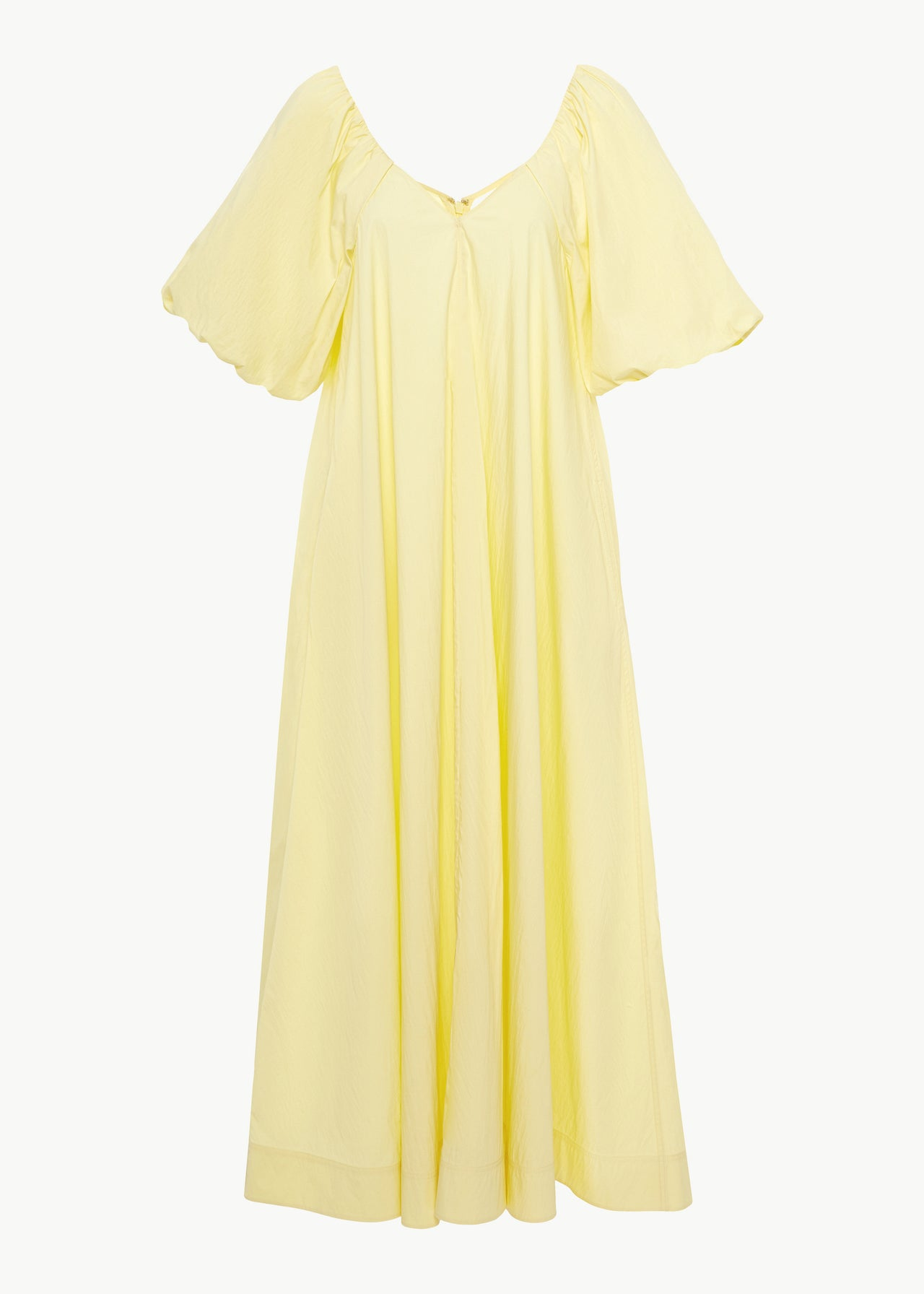 Bubble Sleeve Dress in Cotton Nylon - Yellow