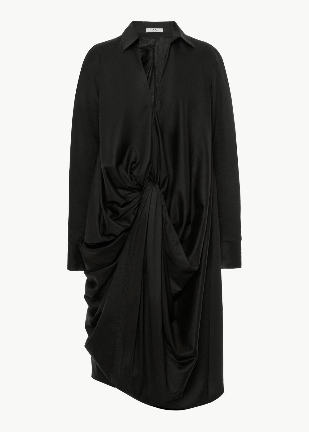 Knotted Shirtdress in Japanese Cotton - Black - CO