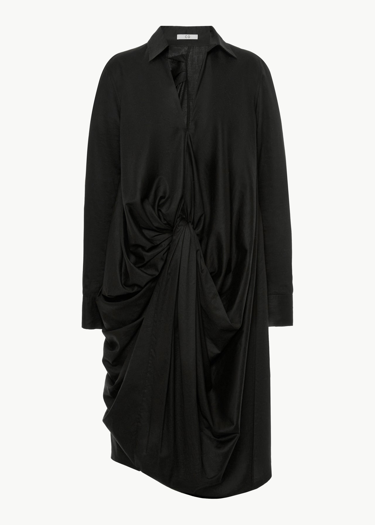 Knotted Shirtdress in Japanese Cotton - Black
