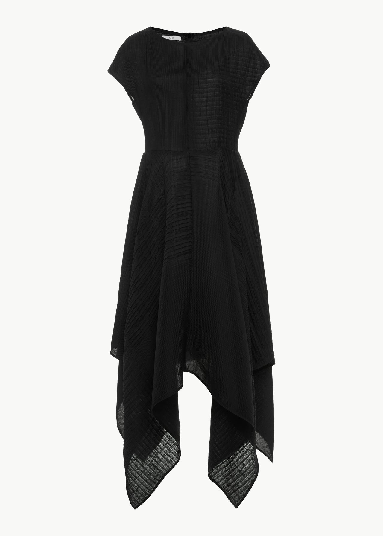 Handkerchief Hem Dress in Smocked Crepe - Black