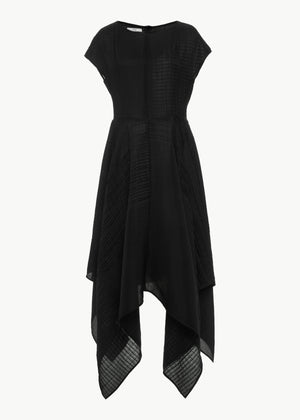 Handkerchief Hem Dress in Smocked Crepe - Black - Co Collections