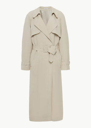 Belted Trench Coat in Linen - Taupe - CO
