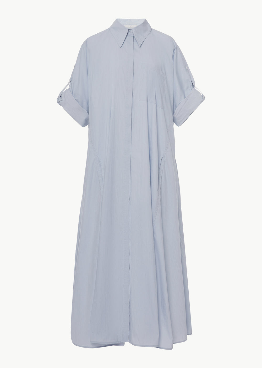 Rolled Sleeve Shirtdress in Cotton Nylon - Blue - CO