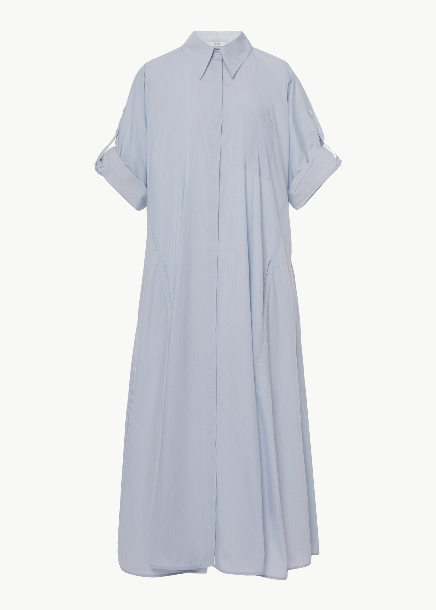 Rolled Sleeve Shirtdress in Cotton Nylon - Blue - Co Collections