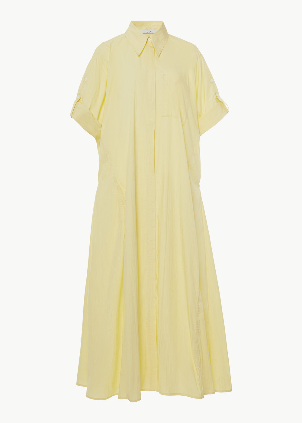 Rolled Sleeve Shirtdress in Cotton Nylon - Yellow - CO Collections