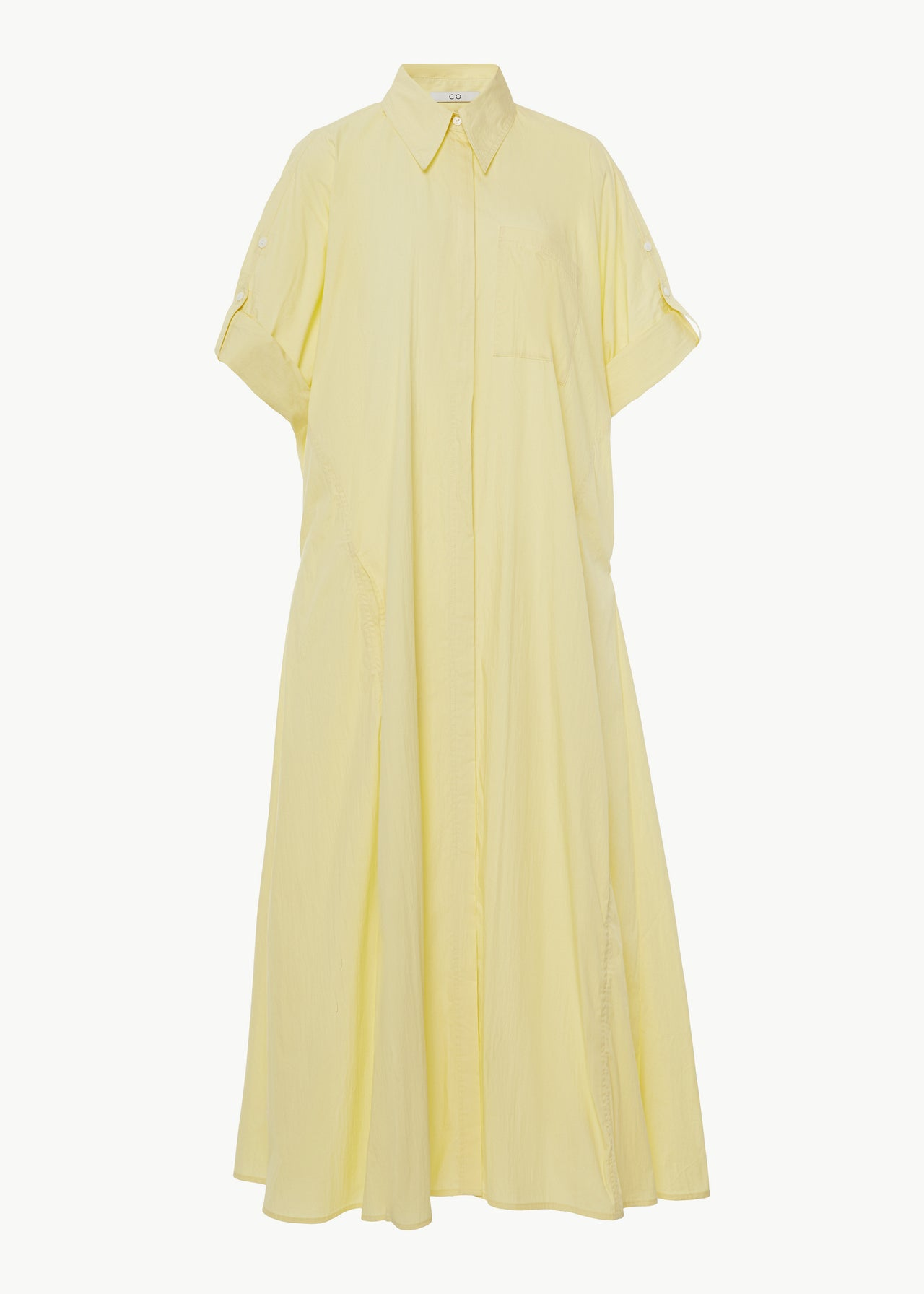 Rolled Sleeve Shirtdress in Cotton Nylon - Yellow