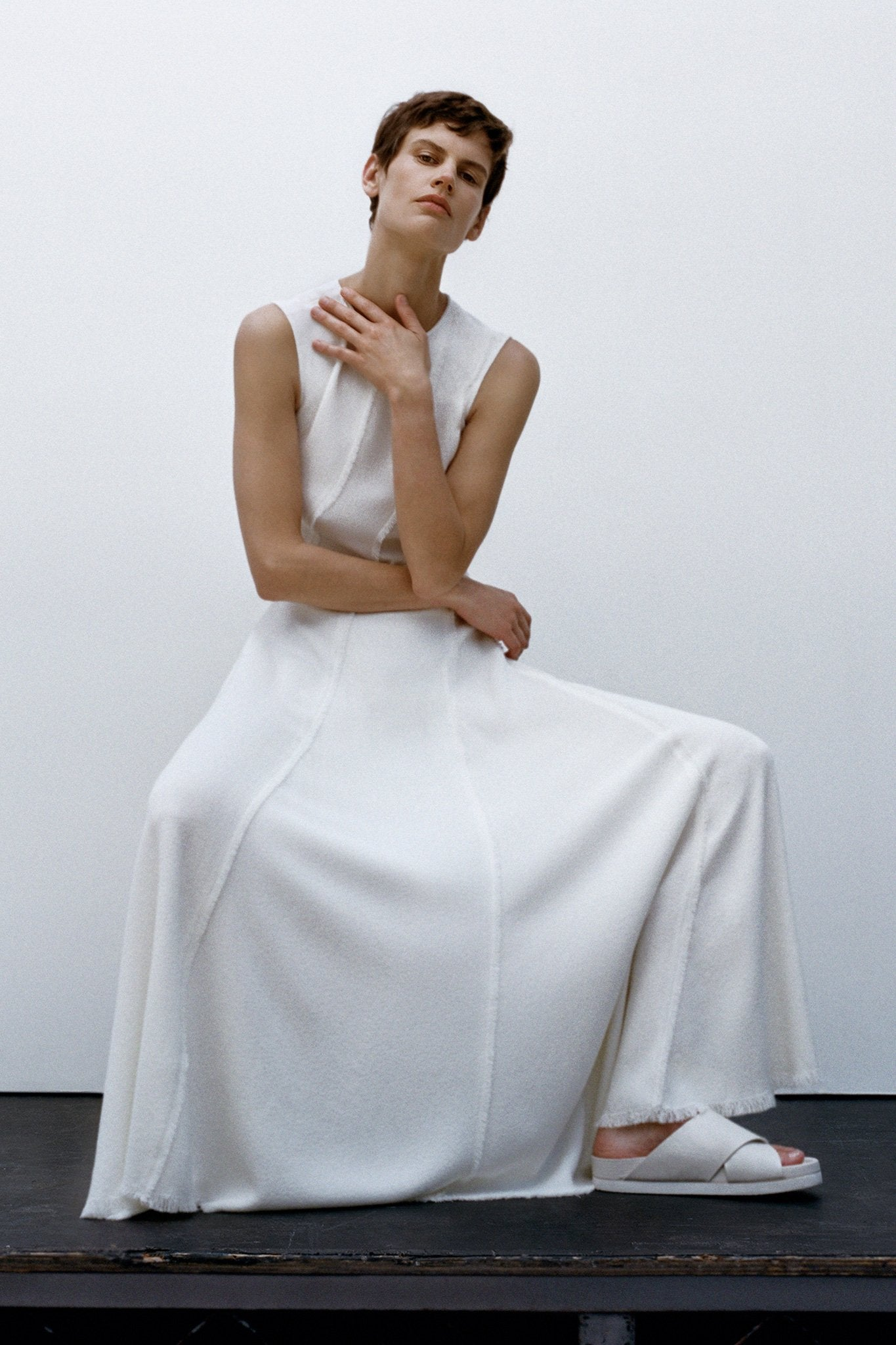 Sleeveless Fringed Dress in Pebble Crepe - Ivory - Co Collections