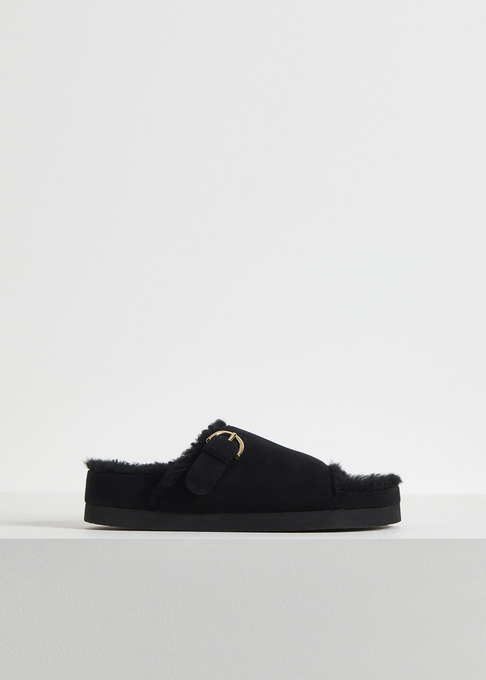 Slide Sandal in Shearling - Dark Brown in Black by Co Collections