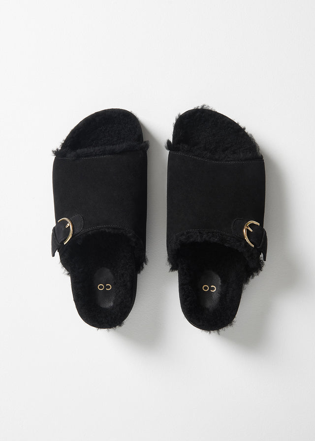 CO - Flash Sale Slide Sandal in Shearling - Black