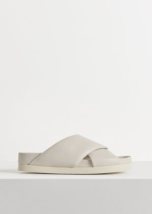 Slide Sandal in Smooth Leather - Ivory - CO