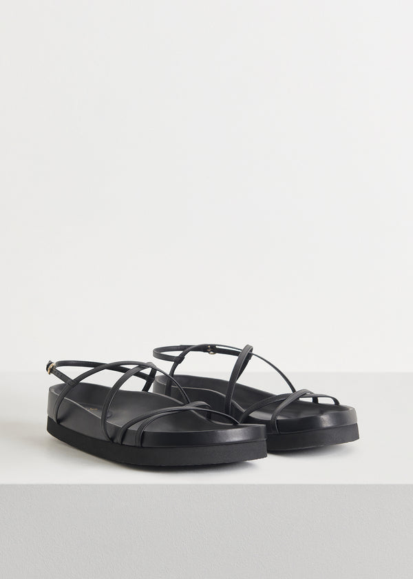 Thin Strap Sandal in Smooth Leather - Black - CO