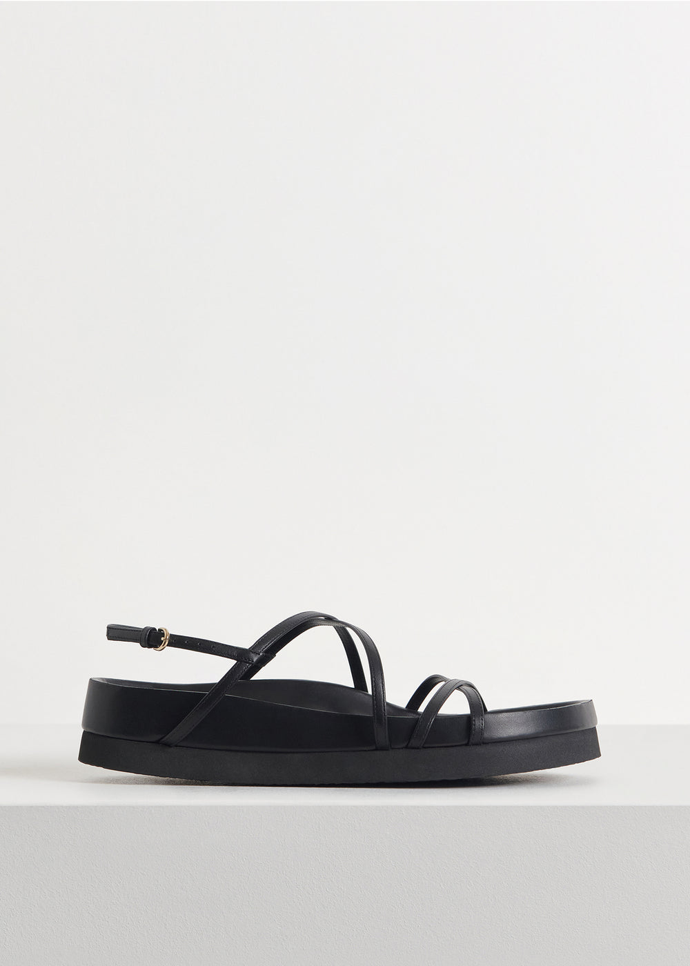 Thin Strap Sandal in Smooth Leather - Ivory in Black by Co Collections