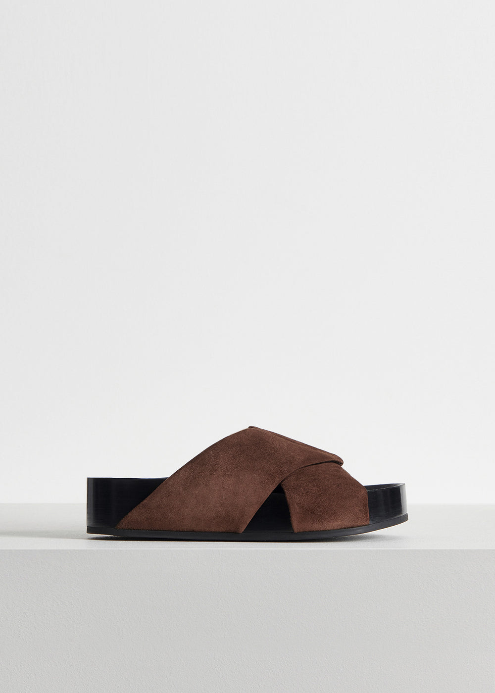 Slide Sandal in Suede - Olive in Dark Brown by Co Collections