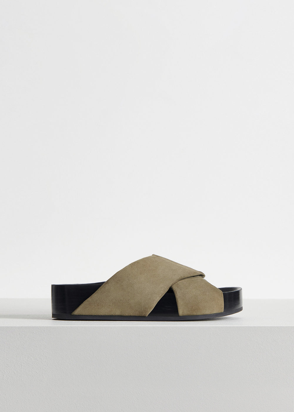 Slide Sandal in Suede - Dark Brown in Olive by Co Collections
