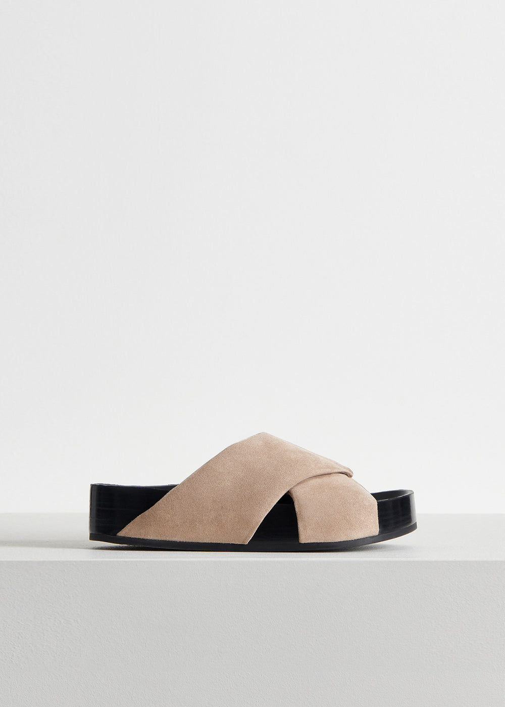 Slide Sandal in Suede - Olive in Sand by Co Collections