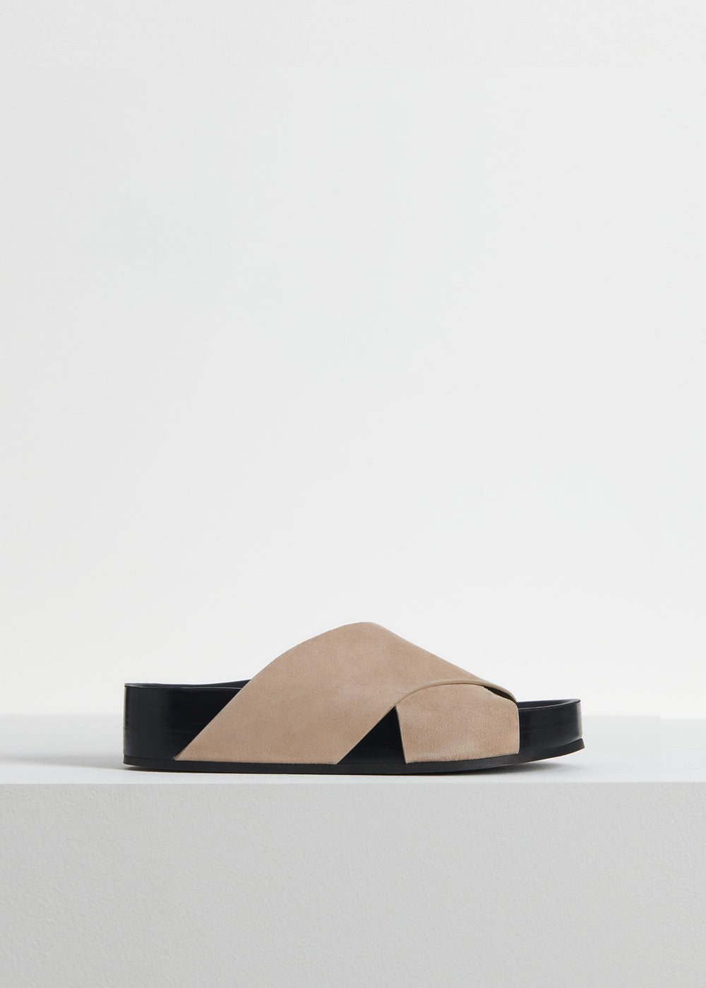 Cross Slide Sandal in Smooth Leather - White in Sand by Co Collections
