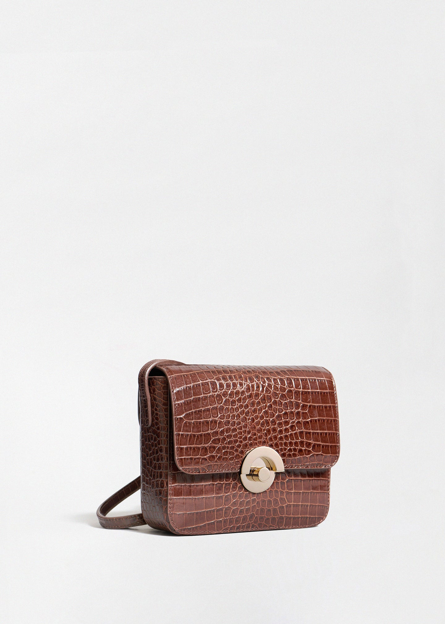 Small Box Bag in Embossed Leather - Dark Brown - CO