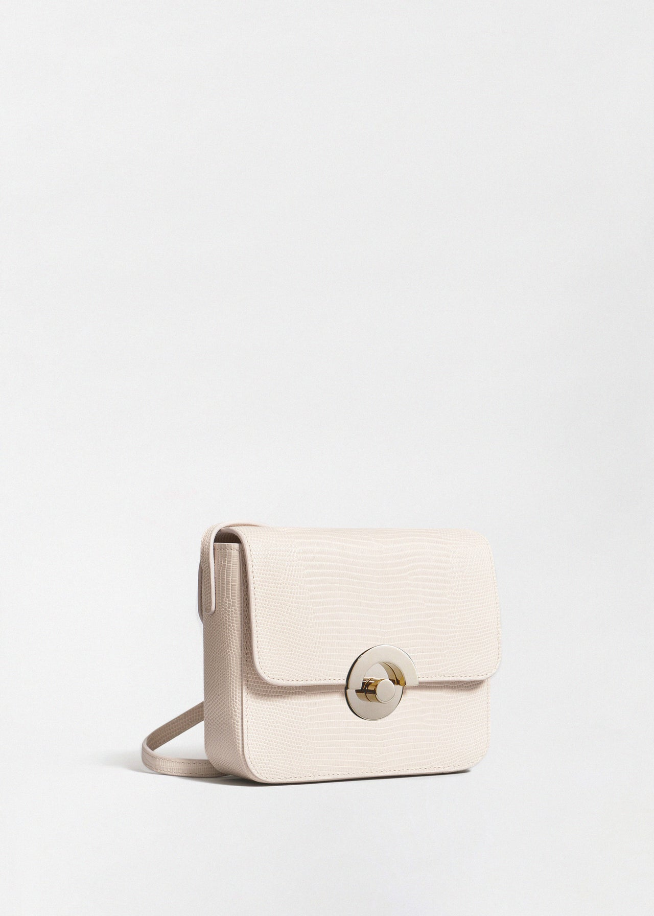 Small Box Bag in Embossed Leather - Sand