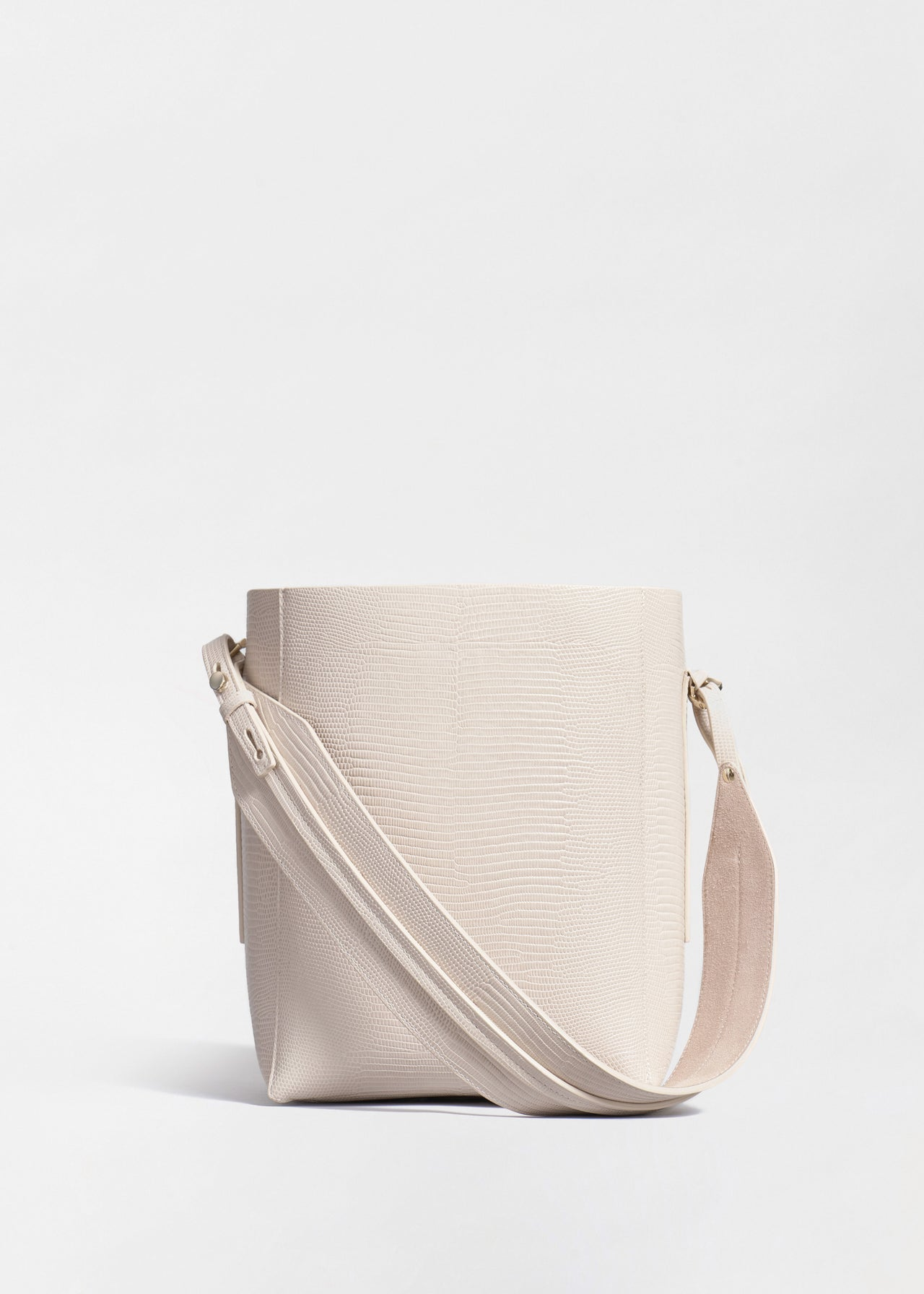 Small Bucket Bag in Embossed Leather - Sand