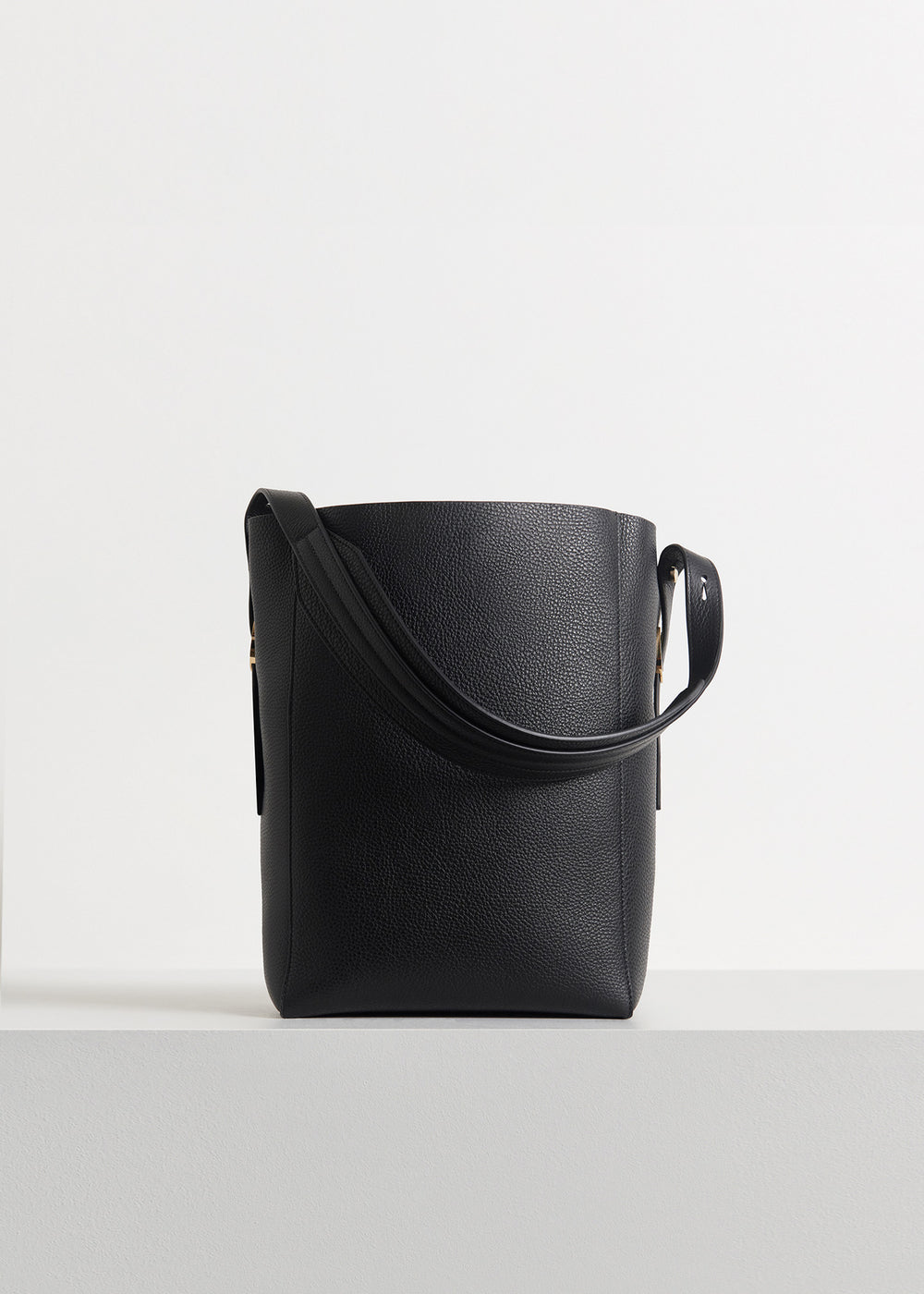 Small Classic Tote in Pebbled Leather in Black by Co Collections